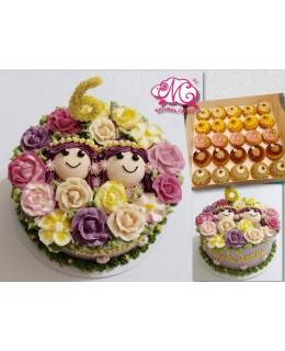 B090 2個女孩蛋糕 約7吋約2.0磅