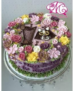 B001(a) 1層2D貓花花蛋糕 約2磅(7吋)