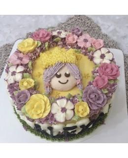 B001(f) 1層公主花花蛋糕 約2磅(7吋)