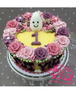 B002(c) 1層大精靈花圈蛋糕 約2磅(7吋)