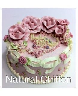 B003 1層緞帶花花蛋糕 約2磅(7吋)
