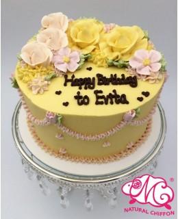 B004 1層花花蛋糕 約2磅(7吋)
