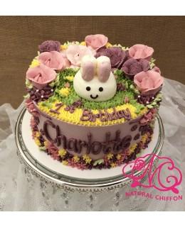 B005(c) 1層兔仔花花蛋糕 約2磅(7吋)
