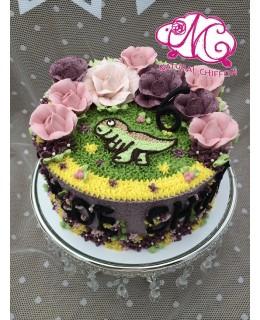B005(e) 1層恐龍花花蛋糕 約2磅(7吋)