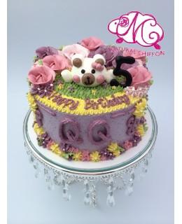 B005(f) 1層白熊花花蛋糕 約2磅(7吋)
