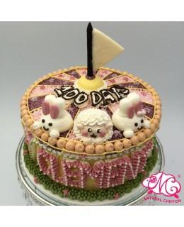 B069(a) 1層羊仔兔仔馬戲團蛋糕 約2磅(7吋)