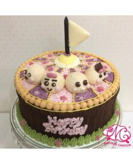 B069(aa) 1層4個BB馬戲團蛋糕 約2磅(7吋)