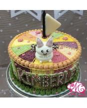 B069(b) 1層兔仔馬戲團蛋糕 約2磅(7吋) (五彩馬戲團側身)