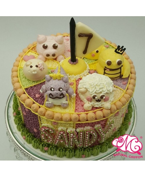 B069(ba) 1層動物馬戲團蛋糕 約2磅(7吋) (五彩馬戲團側身)