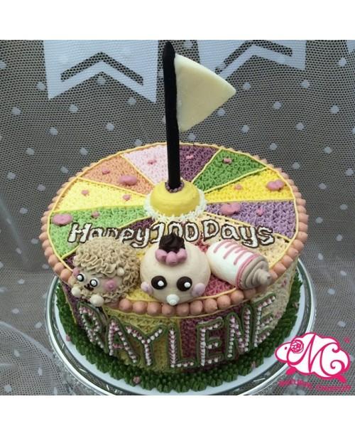 B069(bb) 1層羊仔B女馬戲團蛋糕 約2磅(7吋) (五彩馬戲團側身)