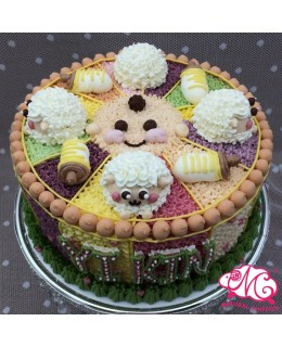 B069(bc) 1層羊仔奶樽B仔蛋糕 約2磅(7吋) (五彩馬戲團側身)