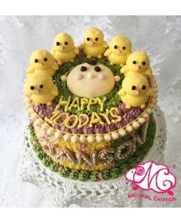 B069(d) 1層小雞B仔蛋糕 約2磅(7吋) (五彩馬戲團側身)