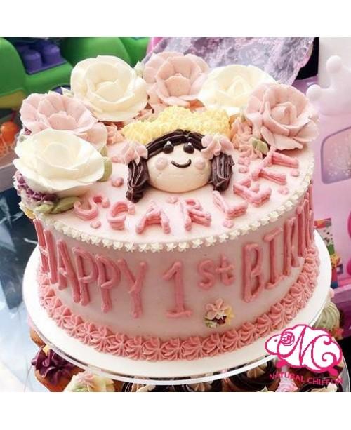 B086 1層花花公主蛋糕 約2磅(7吋)