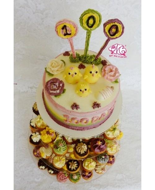 B088 1層小雞百日宴蛋糕 約2磅(7吋) (彩虹側身)