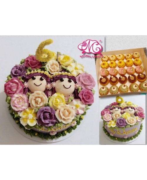 B090 1層2個女孩蛋糕 約2磅(7吋)