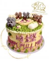 B093(b) 1層3色狗仔B仔蛋糕 約2磅(7吋)