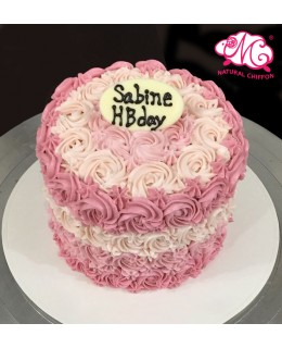 Q007(a) 漸變粉紅玫瑰蛋糕 約5吋1.5磅