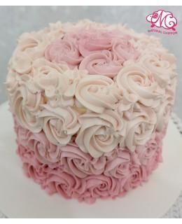 Q007 漸變粉紅玫瑰蛋糕 約5吋1.5磅