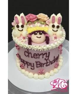 Q018(f) 公主兔蛋糕 約5吋1.5磅