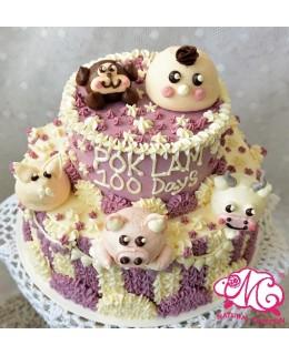 T020 2層BB動物蛋糕  約3-3.5磅(5吋,7吋)