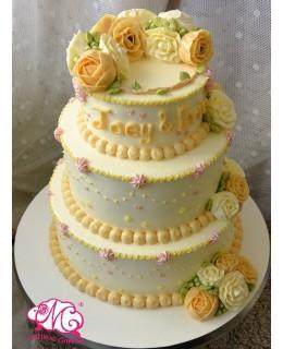 T016 3層橙白色韓花蛋糕 底層約9吋約7-8磅