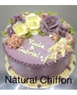 W001 1層白、紫玫瑰蛋糕 約2磅(7吋)