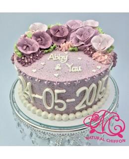 W003 1層粉紫玫瑰蛋糕 約2磅(7吋)