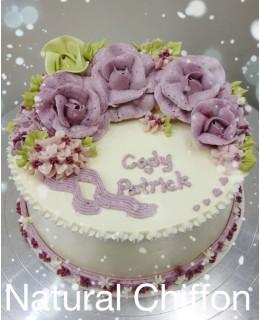 W004 1層紫玫瑰蛋糕 約2磅(7吋)