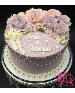 W005 1層粉紫、粉紅玫瑰蛋糕 約2磅(7吋)
