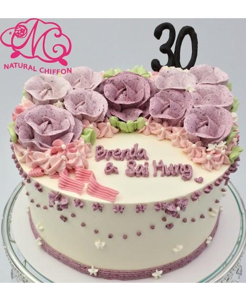W007(a) 1層漸變紫玫瑰蛋糕 約2磅(7吋)