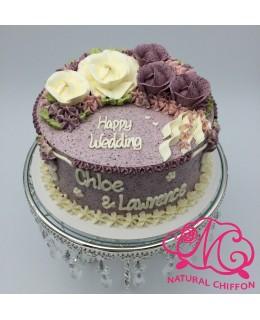 W008(a) 1層白、紫玫瑰蛋糕 約2磅(7吋)
