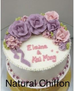 W008 1層紫玫瑰蛋糕 約2磅(7吋)