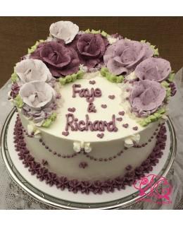 W009 1層深淺紫玫瑰蛋糕 約2磅(7吋)