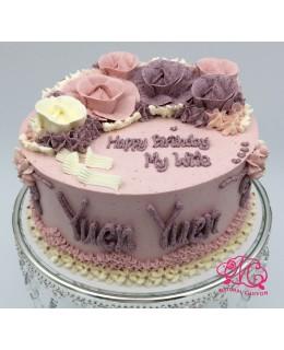 W013 1層紅、紫玫瑰蛋糕 約2磅(7吋)