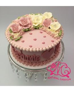 W014(a) 1層粉紅、白玫瑰蛋糕 約2磅(7吋)