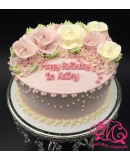 W014 1層粉紅、白玫瑰蛋糕 約2磅(7吋)