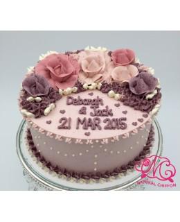 W015(b) 1層3色玫瑰蛋糕 約2磅(7吋)