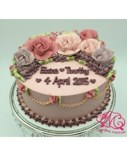 W015 1層3色玫瑰蛋糕 約2磅(7吋)