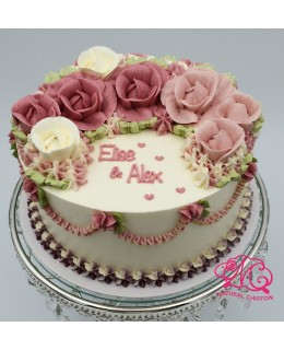 W016(a) 1層深淺紅玫瑰蛋糕 約2磅(7吋)