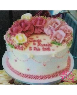 W016(b) 1層深淺粉紅玫瑰蛋糕 約2磅(7吋)