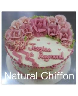 W016(c) 1層漸變粉紅玫瑰蛋糕 約2磅(7吋)