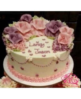 W016(d) 1層粉紅、紫玫瑰蛋糕 約2磅(7吋)