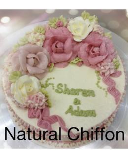 W016 1層深淺粉紅玫瑰蛋糕 約2磅(7吋)