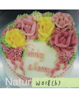 W018(b) 1層黃、深淺粉紅玫瑰蛋糕 約2磅(7吋)