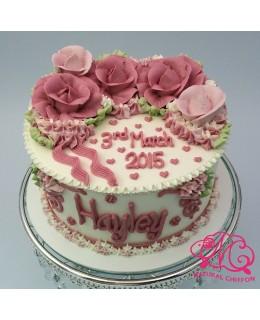 W018 1層漸變粉紅玫瑰蛋糕 約2磅(7吋)