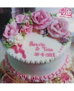 W019 1層粉紅玫瑰蛋糕 約2磅(7吋)