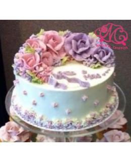 W020 1層粉紅、粉紫玫瑰蛋糕 約2磅(7吋)