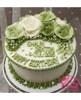 W028(c) 1層綠、白玫瑰蛋糕 約2磅(7吋)