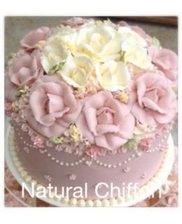 W033 1層淺粉紅花球蛋糕 約2.5磅(7吋)