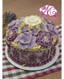 W034(b) 1層粉紫玫瑰紫牡丹花球 約2磅(7吋)